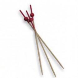 """picks """"bola roja"""" 12cms natural bambu (pack 100 unid.)"""