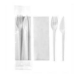 juego cuchillo, tenedor, servilleta, sal, pimienta (1 unid.)